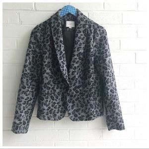 Loft Cheetah Print Wool Blend One Button Blazer